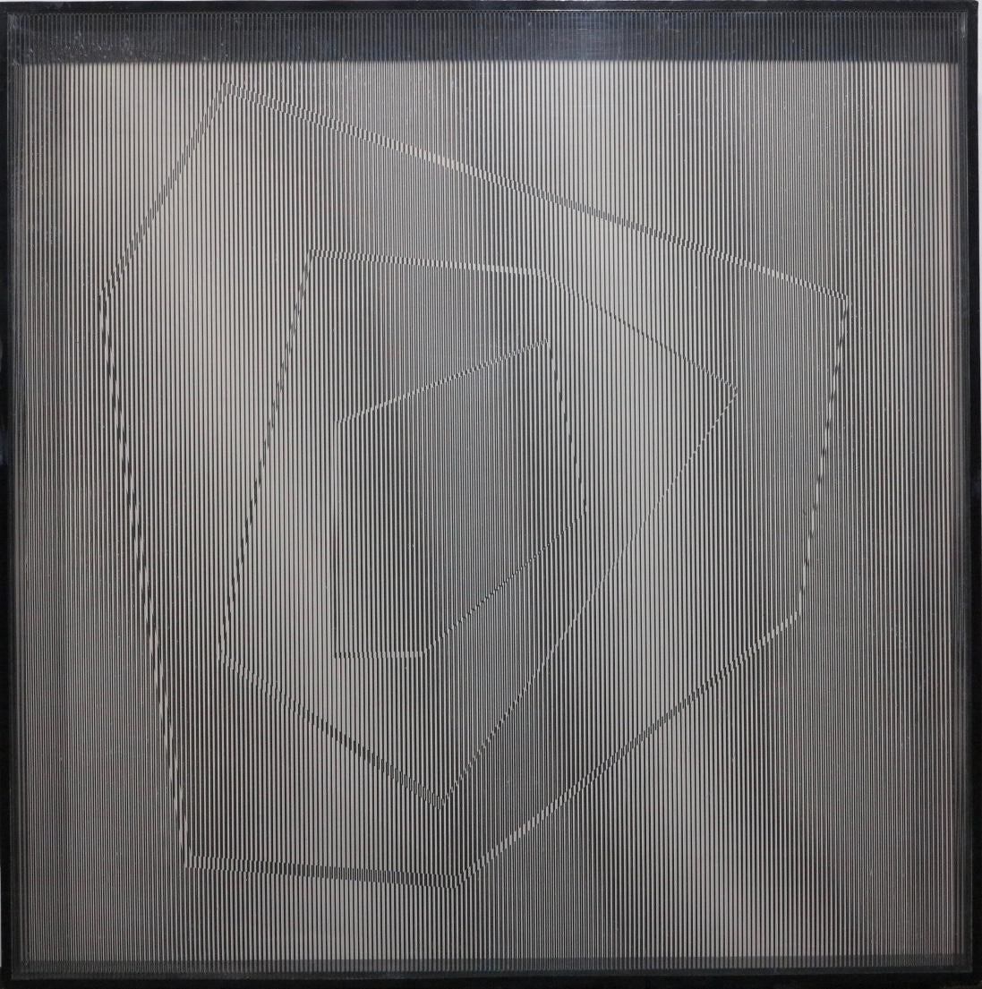 The Edge V (Op Art plexiglass box wall sculpture)