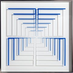 Blue Staircase, Minimalist Silkscreen on Plexi by Mon Levinson 1969