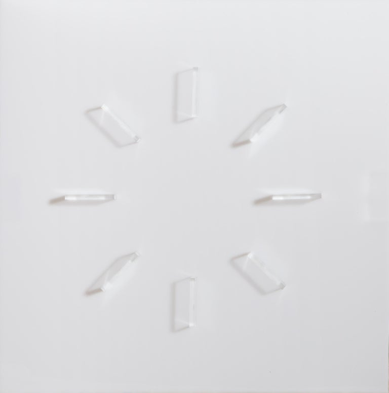 Artist: Mon Levinson, American (1926 - 2014) Title: Sun Clock Year: 1969 Medium: Clear and frosted plexiglas construction Edition: 14/90 Size: 20 x 20 in. (50.8 x 50.8 cm)