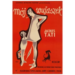 'Mon Oncle' Original Vintage Movie Poster by Pierre Etaix, Polish, 1959