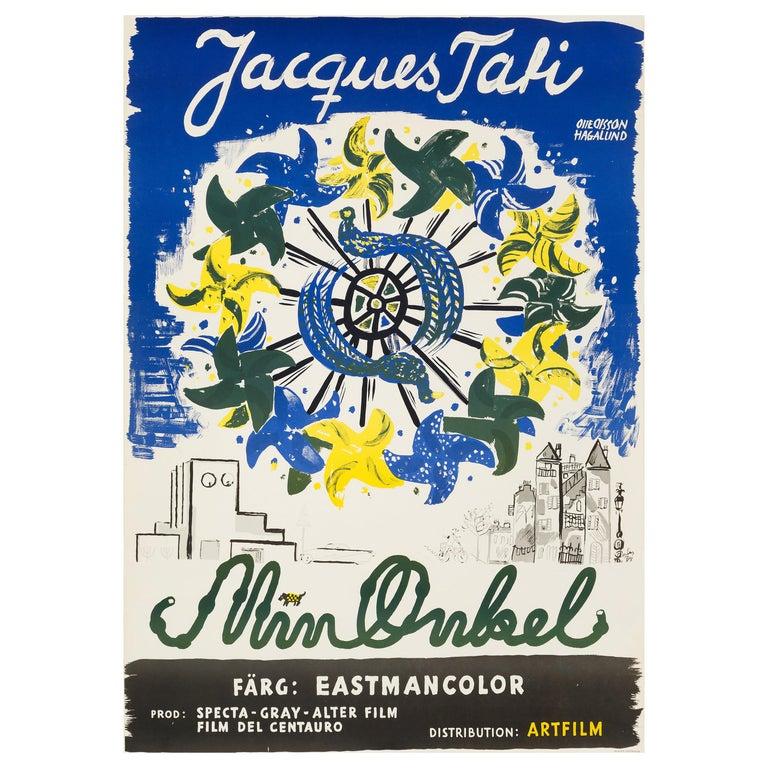 'Mon Oncle' Original Vintage Movie Poster, Swedish, 1959 For Sale