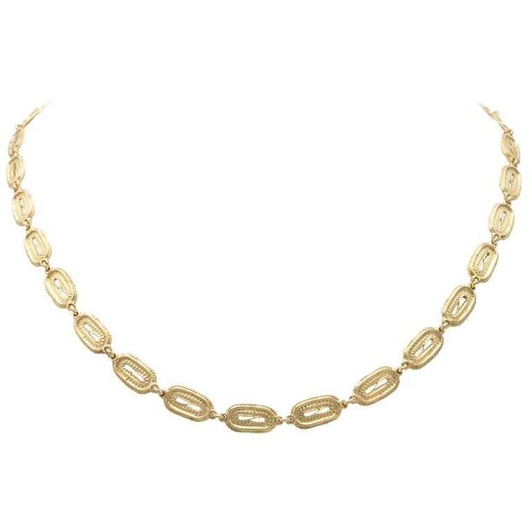 Mon Pilar Jewelry Roma Necklace in 14 Karat Yellow Gold For Sale