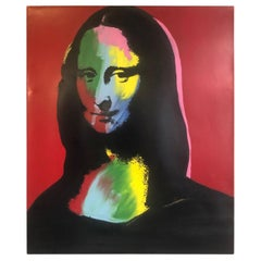 Mona Lisa Embellished Silkscreen on Canvas by Steve Kaufman Sak Artist Proof Red