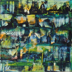 A City Asleep by M. M. Ciciovan, Abstract Oil Painting, 2012