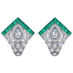 Monan 1.68 Carat Diamond and 1.22 Carat Emerald Art Deco Earrings