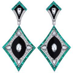 Monan 5.51 Carat Diamonds and 6.96 Carat Emerald Earrings