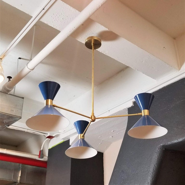 Mid-Century Modern 'Monarch' 3-Arm Modern Pendant in Brass and Blue Enamel by Blueprint Lighting For Sale