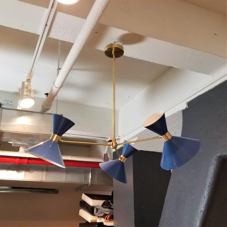 American 'Monarch' 3-Arm Modern Pendant in Brass and Blue Enamel by Blueprint Lighting For Sale