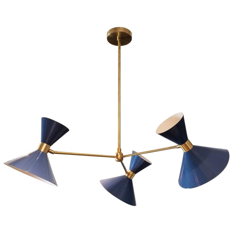 'Monarch' 3-Arm Modern Pendant in Brass and Blue Enamel by Blueprint Lighting For Sale