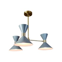 'Monarch' 3-Arm Modern Pendant in Brass and Gray Enamel by Blueprint Lighting