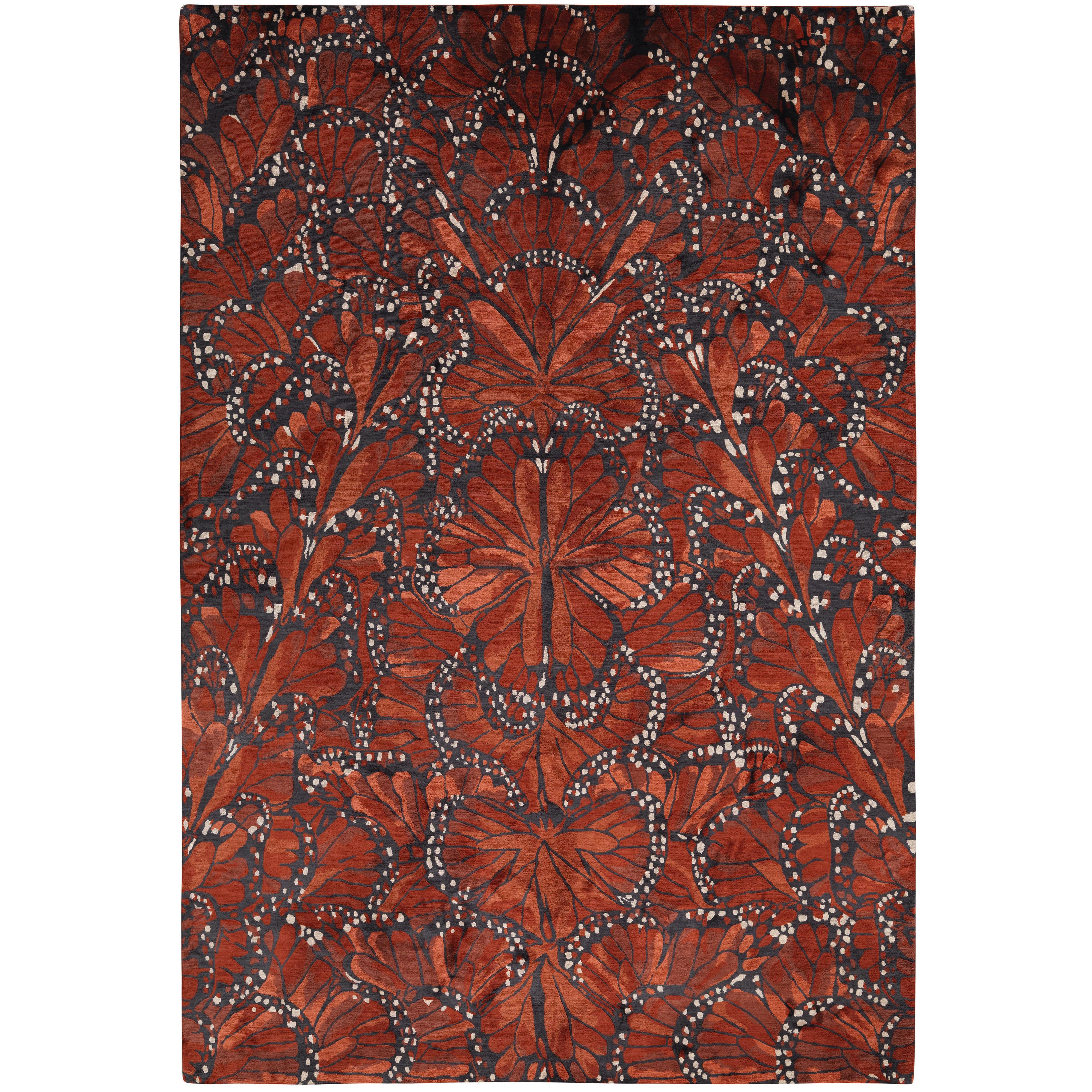 Monarch Fire Hand-Knotted 10x8 Rug in Silk by Alexander McQueen