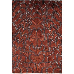 Monarch Fire Hand-Knotted 6x4 Floor Rug in Silk by Alexander McQueen