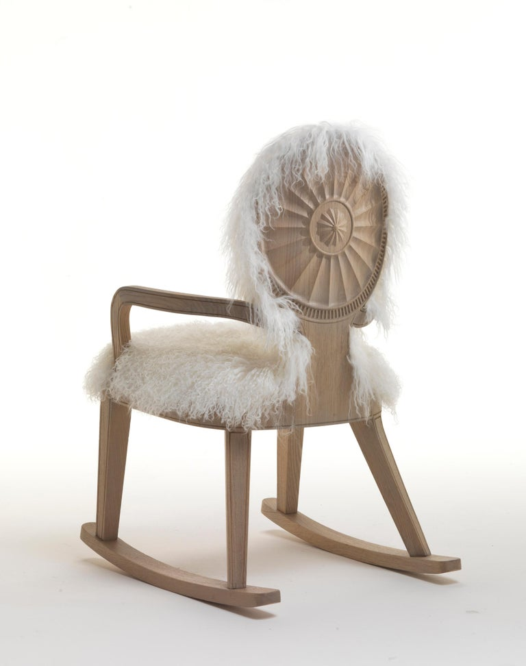 Modern Monarch Rocking Chair in Natural Oak Finish For Sale