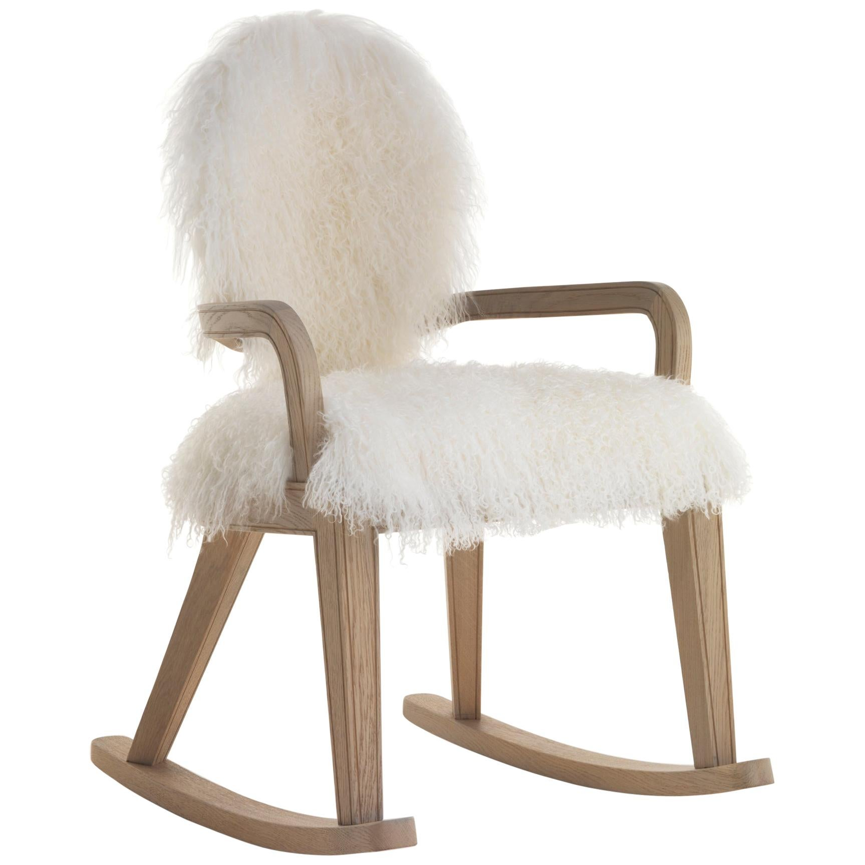Monarch Rocking Chair in Natural Oak Finish with Lamb
