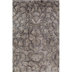 Monarch Smoke Hand-Knotted 6x4 Floor Rug in Silk by Alexander McQueen