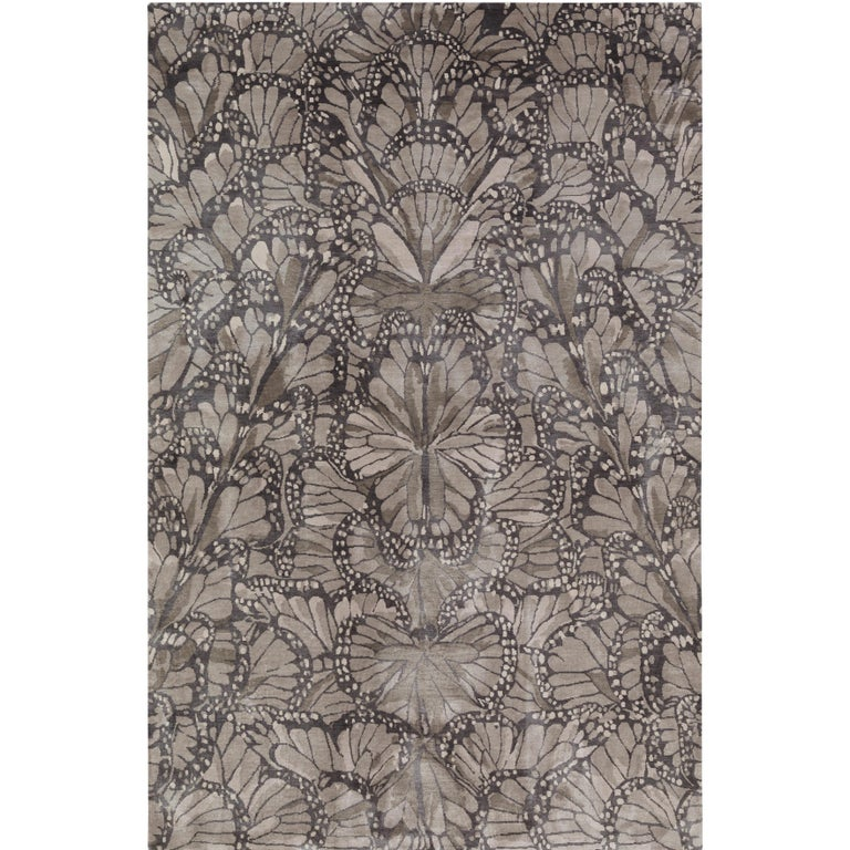 Monarch Smoke Hand Knotted 6x4 Floor Rug In Silk By