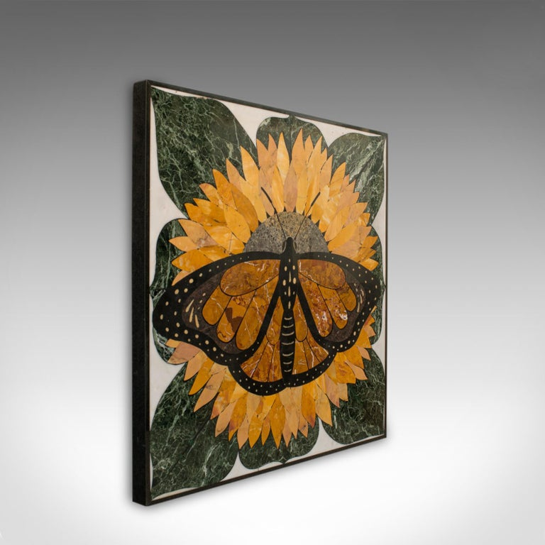 'Monarch' is a vintage butterfly Pietra Dura. An English, decorative wall mounted or table top piece by the renowned sculptural artist, Dominic Hurley.  A one-of-a-kind vintage work in very good order throughout Beautifully arranged stone