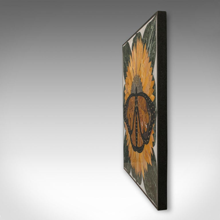 20th Century 'Monarch', Vintage Butterfly Pietra Dura, English, Decorative, Wall, Table Top For Sale