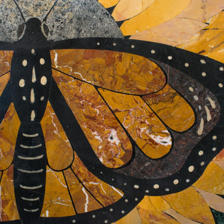 'Monarch', Vintage Butterfly Pietra Dura, English, Decorative, Wall, Table Top For Sale 3