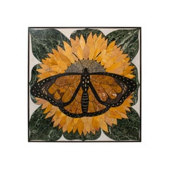 'Monarch', Vintage Butterfly Pietra Dura, English, Decorative, Wall, Table Top