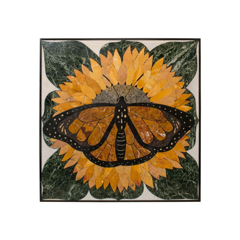 'Monarch', Vintage Butterfly Pietra Dura, English, Decorative, Wall, Table Top For Sale
