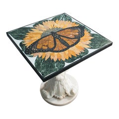 'Monarch', Vintage Butterfly Pietra Dura Table, English, Decorative, Marble
