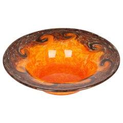 Monart Scottish Art Deco Orange and Brown Art Glass Bowl
