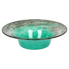 Monart Scottish Art Deco Turquoise And Gold Aventurine Art Glass Bowl