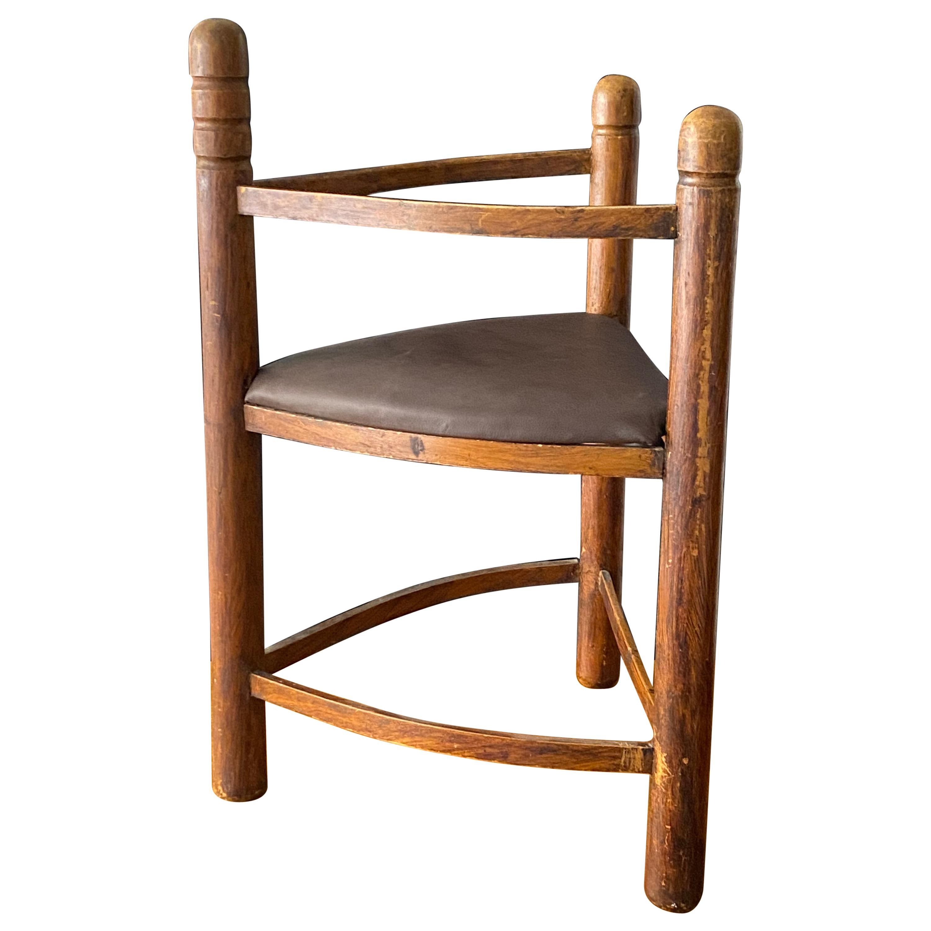 Monastery Chair, Carved and Stained Wood, Leather, Sweden, Early 20th Century