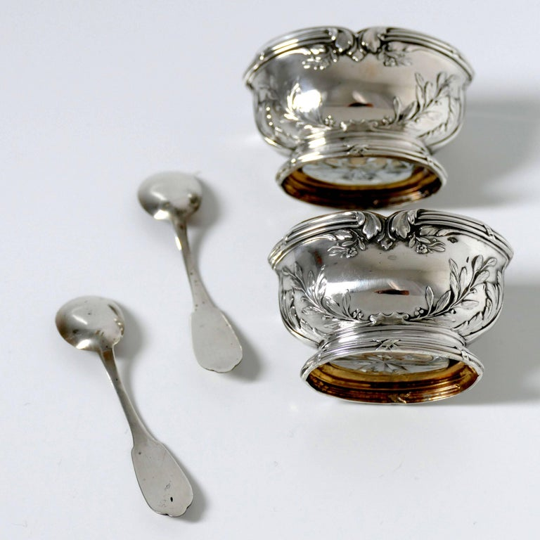 Moncheront French Sterling Silver 18-Karat Gold Salt Cellars Pair, Spoons, Box For Sale 1