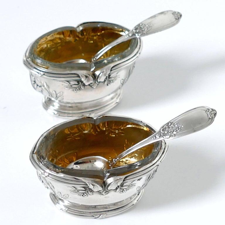 Moncheront French Sterling Silver 18-Karat Gold Salt Cellars Pair, Spoons, Box For Sale 2