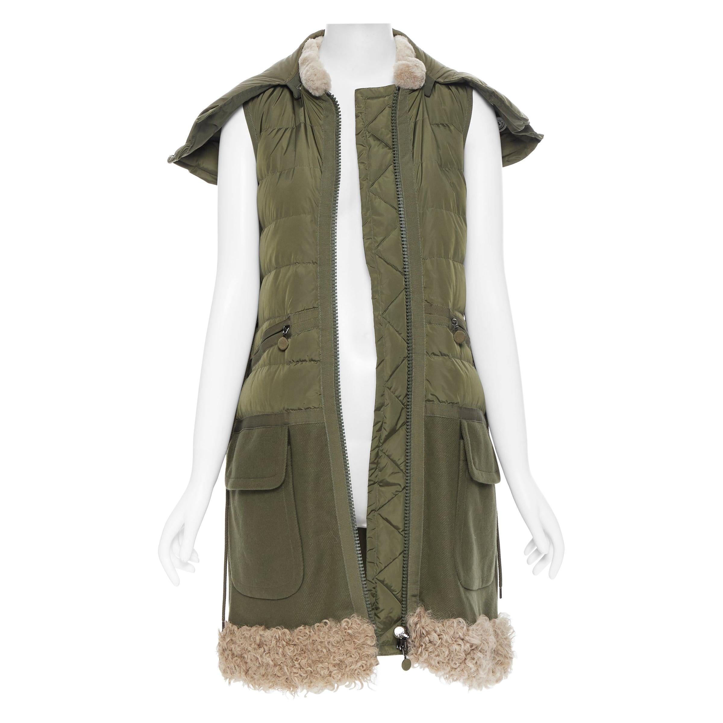 MONCLER Anne Giubbotto military green down padded shearling trim hooded vest S
