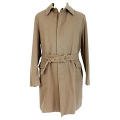 Moncler Beige Cotton Classic Long Waterprof Coat Down Padding Trench