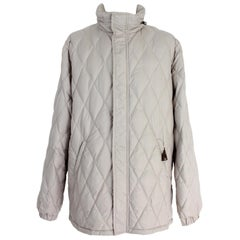 Moncler Beige Quilted Puffer Men's Down Coat Jacket 2000s Long