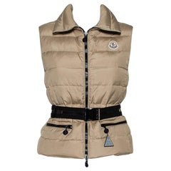 Moncler Beige Synthetic Padded Gaelle Vest XS