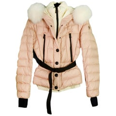 Moncler Beverly Giubbutto Pink Jacket w/ Removable Fur Lined Hood sz 1 / S