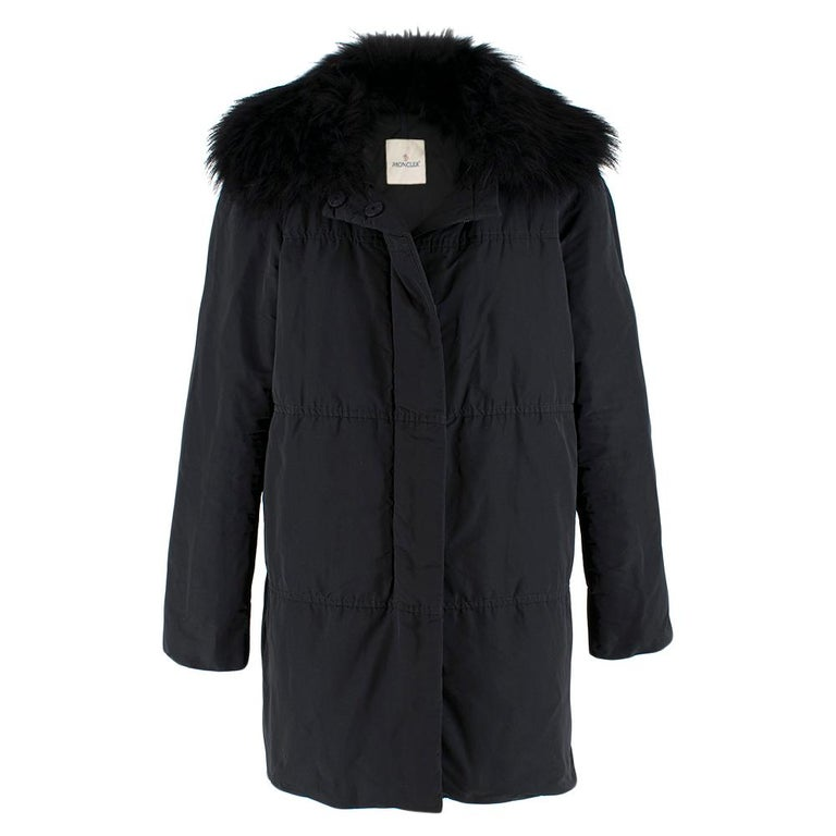 Moncler Black Down Coat with Fur Collar For Sale 6