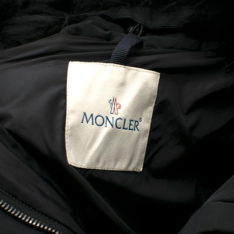 Moncler Black Down Coat with Fur Collar For Sale 2