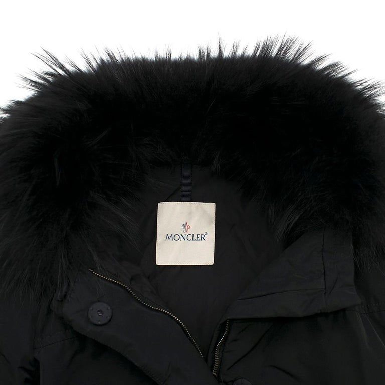 Moncler Black Down Coat with Fur Collar For Sale 3