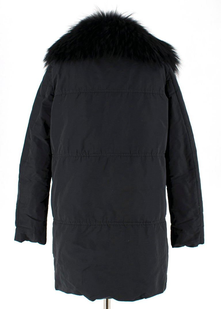 Moncler Black Down Coat with Fur Collar For Sale 4