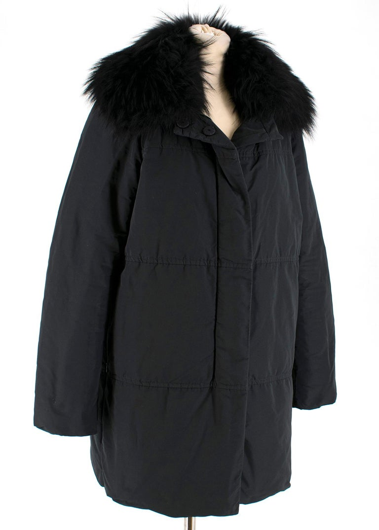 Moncler Black Down Coat with Fur Collar For Sale 5