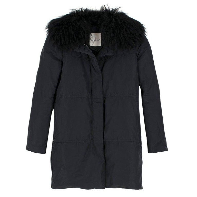 Moncler Black Down Coat with Fur Collar For Sale