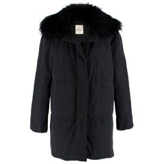 Moncler Black Down Coat with Fur Collar - Size M