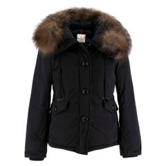 Moncler Black Down Jacket with Fox Fur Hood XXS