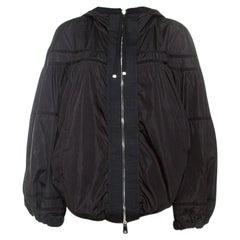 Moncler Black Grosgrain Trim Balloon Sleeve Hooded Jacket L