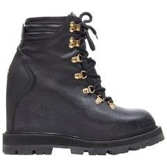 MONCLER black leather concealed high heel wedge paltform hiking ankle boot EU38