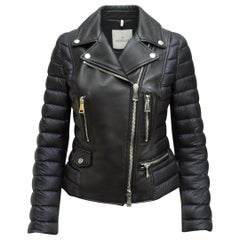 Moncler Black Leather & Puffer Moto Jacket