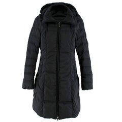 Moncler Black Long Down Filled Hooded Jacket 1