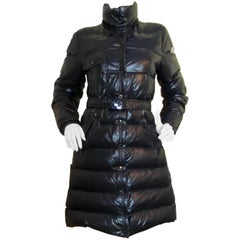 Moncler Black Meina Puffer Down Coat w/Belt & Detachable Hood sz 2/US M