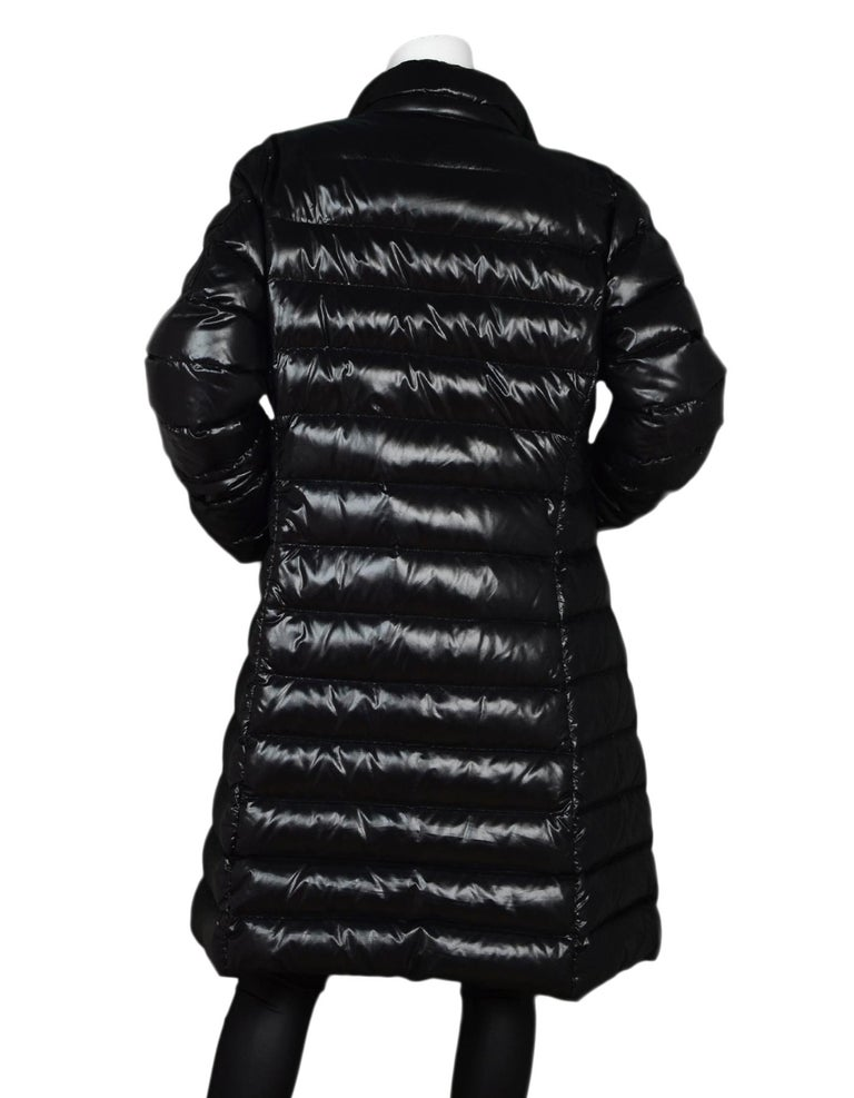 fe5c41f517c0 Moncler Black Moka Shiny Fitted Puffer Coat Sz 4 (XL) In Excellent  Condition For